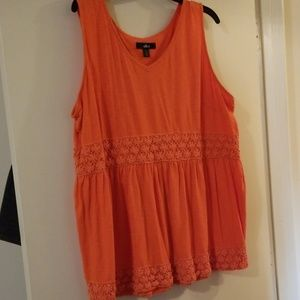 ❤Ellos orange Tank with crochet trim 1X